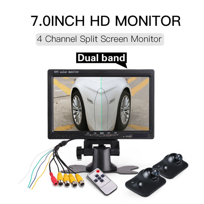 Waterproof Car Parking Aid System Desktop 7 Inch Car Monitor With 4 Channels