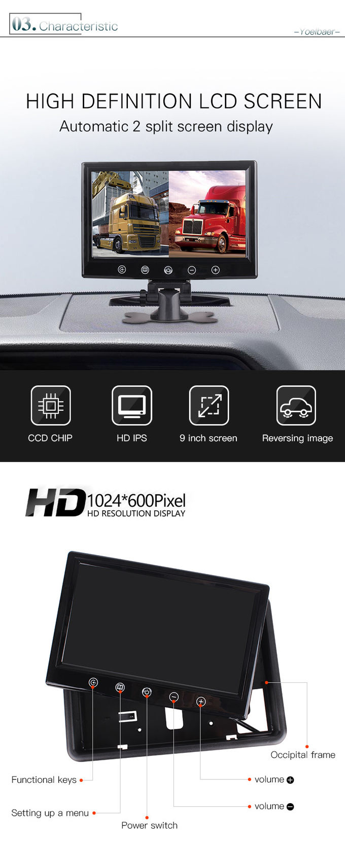 IR Night Vision Reverse Car Parking System For Bus Truck RV Caravan Trailers